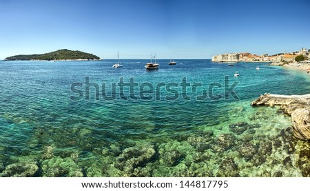 View on old town in Dubrovnik, Croatia - stock photo