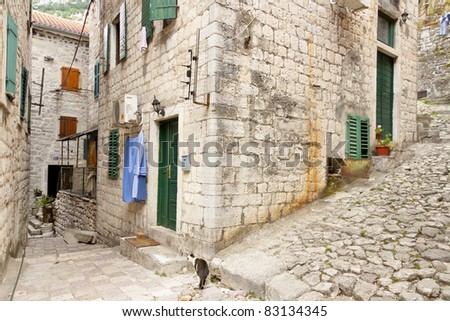 View on old town of Kotor UNESCO twon in Montenegro. - stock photo
