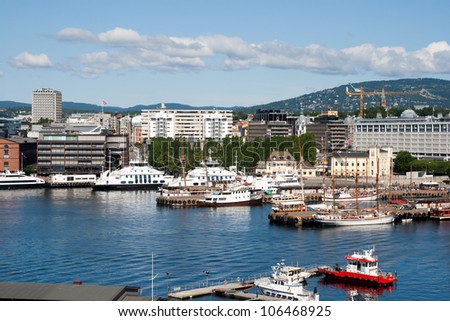 View on Oslo and the harbor. - stock photo