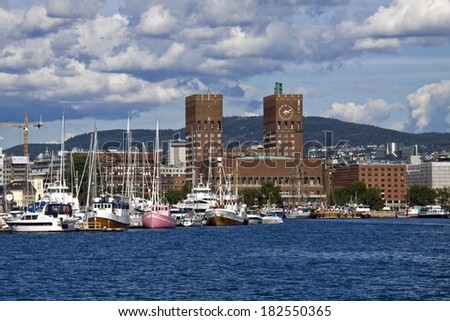 View on Oslo and the harbor, Norway  - stock photo