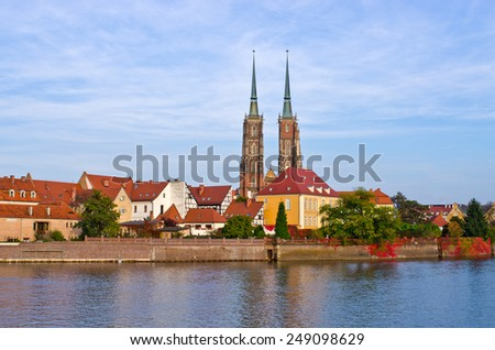 View on Ostrow Tumski in Wroclaw - Poland - stock photo