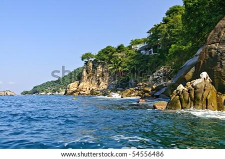 View on Pacific coast of Mexico near Puerto Vallarta - stock photo