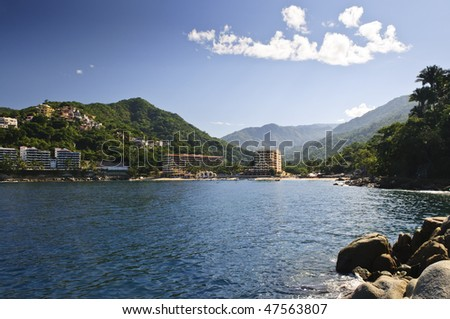 View on Pacific coast of Mexico resort town of Mismaloya near Puerto Vallarta - stock photo