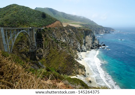 View on Pacific cost in Big Sur. California USA. - stock photo