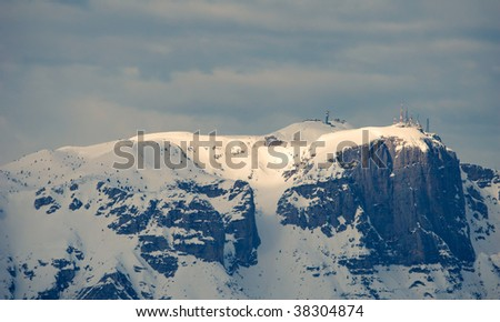 View on Paganello mount in winter, Northern Italy