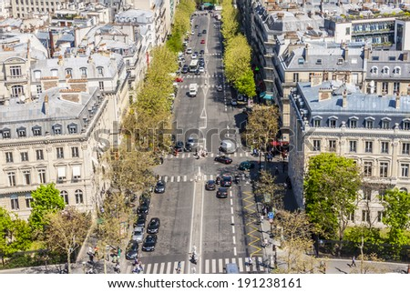 View on Paris from Arc de Triomphe. - stock photo