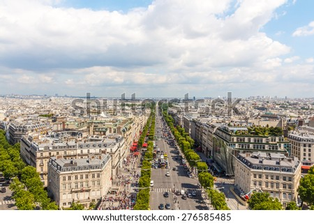View on Paris from Arc de Triomphe, Champs elysees Avenue, France - stock photo