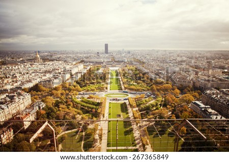 View on Paris from Eiffel Tower - stock photo