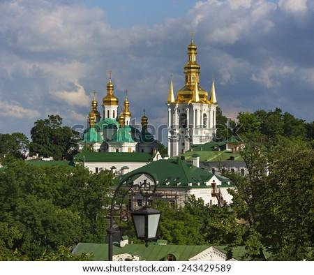 View on Pechersk lavra in Kiev, Ukraine - stock photo