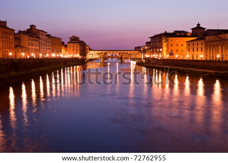 View on Ponte Vecchio at twilight, Florence, Tuscany, Italy