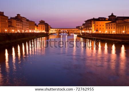 View on Ponte Vecchio at twilight, Florence, Tuscany, Italy - stock photo