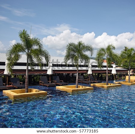 View on pool with palms and sunbeds - stock photo