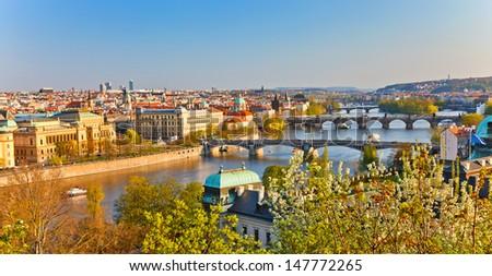 View on Prague at sunset - stock photo