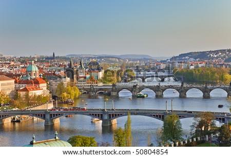 View on Prague Bridges at sunset - stock photo