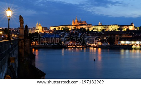 View on Prague castle and Charles Bridge