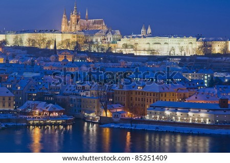 View on Prague from Charles Bridge tower - stock photo