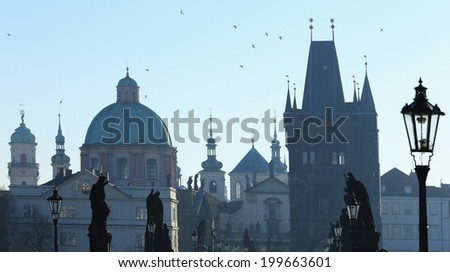 View on Prague Old Town from Charles Bridge, Czech Republic