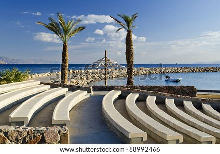 View on promenade in the northern beach of Eilat - famous resort and recreation city in Israel - stock photo