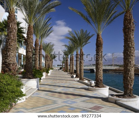 View on promenade of northern beach of Eilat - famous resort city of Israel