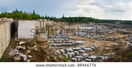 View on quarry for the extraction of granite - stock photo