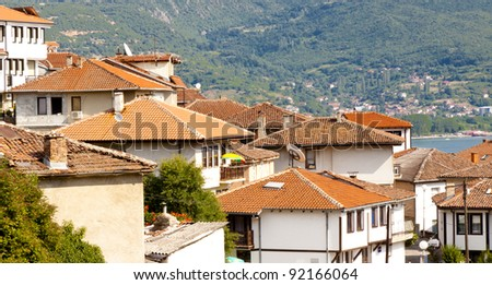 View on red roofs in UNESCO Ohrid town - Macedonia, Balkans. - stock photo