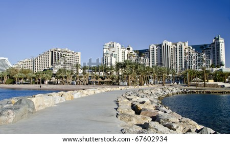 View on resort hotels and recreation areas Eilat city, Israel
