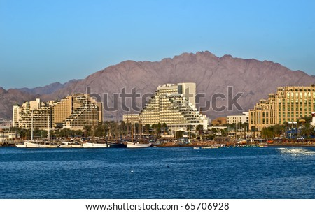 view on resort hotels in Eilat, Israel - stock photo