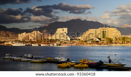 View on resort hotels on the northern beach of Eilat, Israel - stock photo