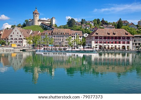 View on Rhine river and famous Munot fortifiction. Schaffhausen, Switzerland. - stock photo