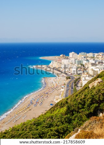 View on Rhodes town tourist district and Aegean and Mediterranean sea, Greece - stock photo