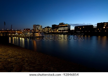 view on river in Bremen at night