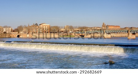View on riverbanks of Toulouse, France