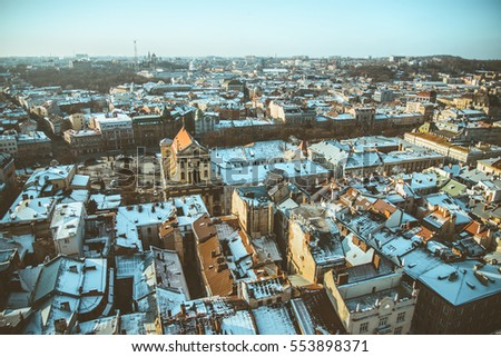 View on roofs of old european city