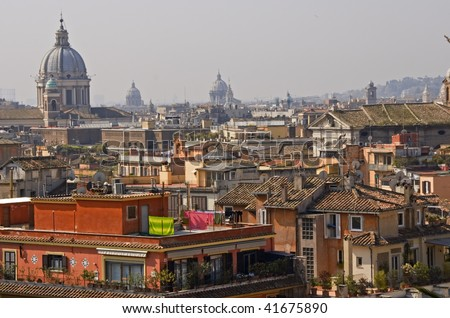 View on rooftops of Rome. - stock photo