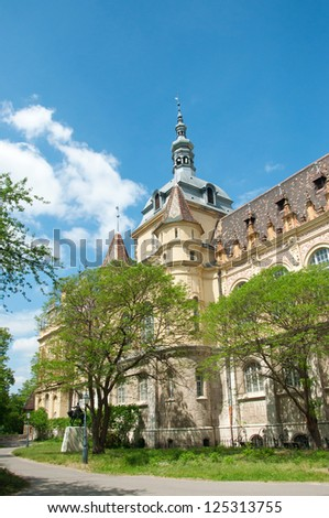 View on Royal agriculture museum settled within Vajdahunyad castle on a bright sunny spring day with some green trees in front and against blue sky. Budapest, Hungary - stock photo
