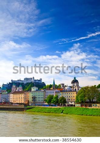 View on Salzach river and Hohensalzburg Fortress, Salzburg, Austria - stock photo