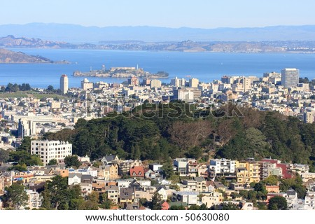 View on San Francisco Bay with Alcatraz from twin peaks - stock photo