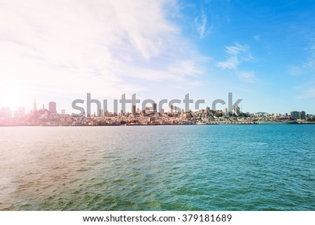 View on San Francisco from the bay waters - stock photo
