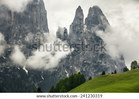 View on Schlern from the Seiseralm - stock photo