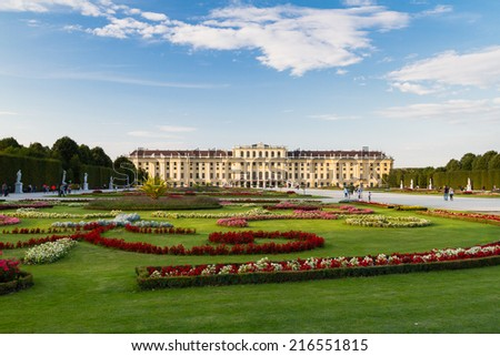 View on Schonbrunn Palace and park in Vienna, Austria - stock photo