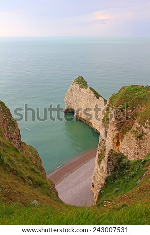 View on sea and cliffs in Etretat, Normandy, France - stock photo