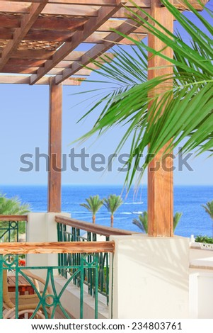 View on sea from balcony  - stock photo