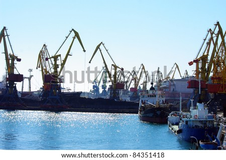 View on seaport with cranes at day - stock photo
