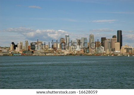 View on Seattle downtown from Puget Sound - stock photo