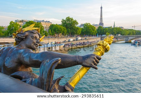 View on Seine River from Alexander III bridge - stock photo