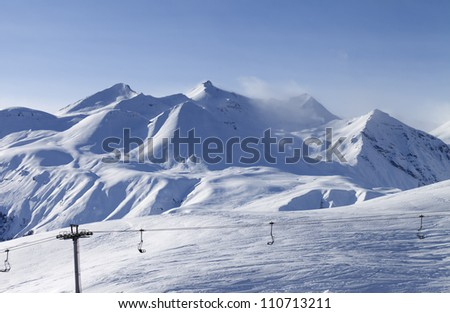 View on ski resort in evening. Georgia, Gudauri. Caucasus Mountains.