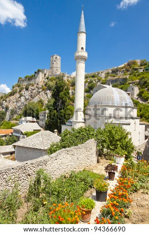 View on small but beauty mosque in Pocitelj - Bosnia and Herzegovina, Balkans