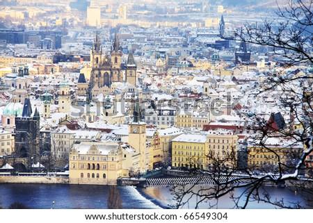 View on Snowy Prague, beautiful medieval city of Czech republic - stock photo