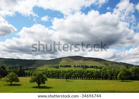 view on some highlands around pitlochry, scotland. - stock photo