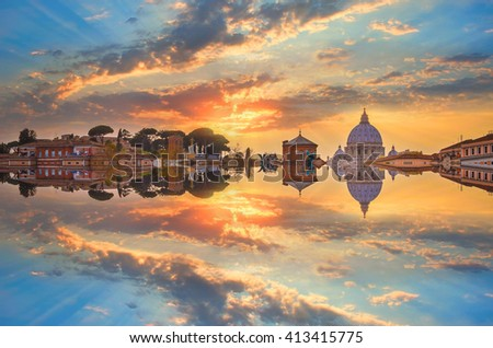 View on St Peter Basilica in Vatican, Rome, Italy. Abstract cityscape with reflection - stock photo